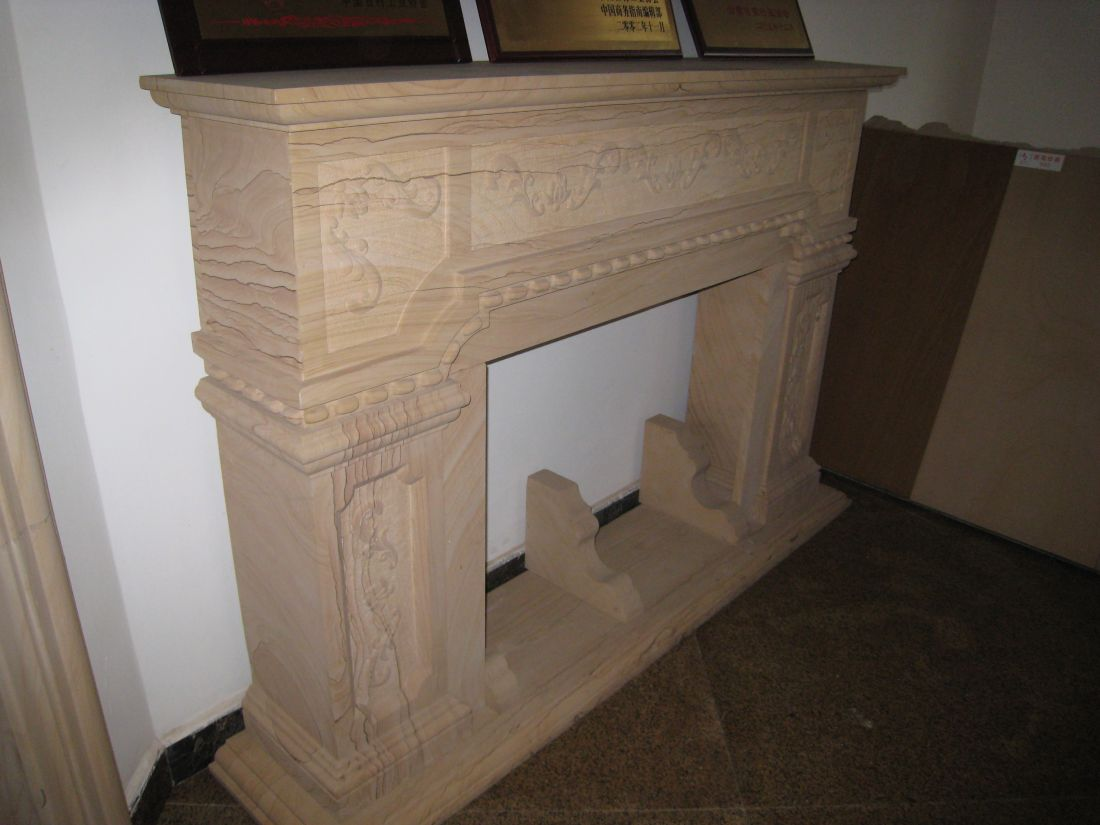 woodgrain fireplace